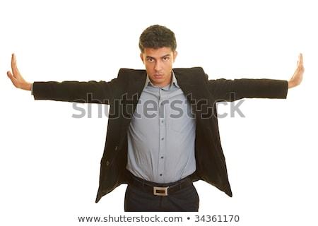 Сток-фото: деловой · человек · оружия · изолированный · белый · бизнеса