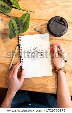 Nő ír napló bár pult étterem Stock fotó © wavebreak_media