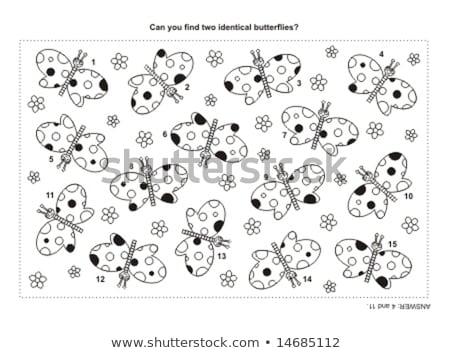 Talál azonos fekete játék kifestőkönyv gyerekek Stock fotó © Olena