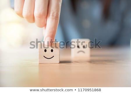 Klantenservice gezicht telefoon gelukkig hart teken Stockfoto © Genestro