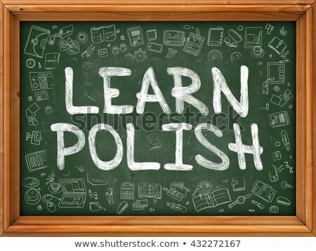 Learn Polish Concept. Green Chalkboard with Doodle Icons. Stock photo © tashatuvango