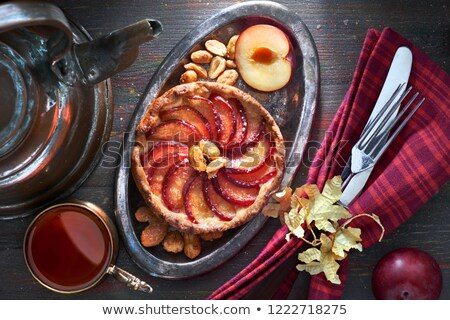 Pruim taart hout vruchten achtergrond taart Stockfoto © M-studio