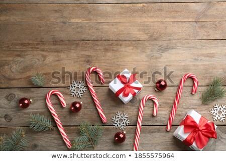 конфеты тростник деревянный стол Рождества время домой Сток-фото © wavebreak_media