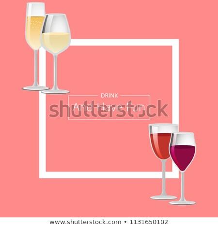 вино напитки плакат пару очки вектора Сток-фото © robuart