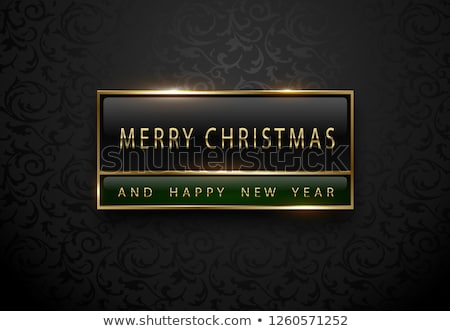 Merry Chistmas and happy new year banner. Premium black green label with golden frame on black Stock photo © Iaroslava