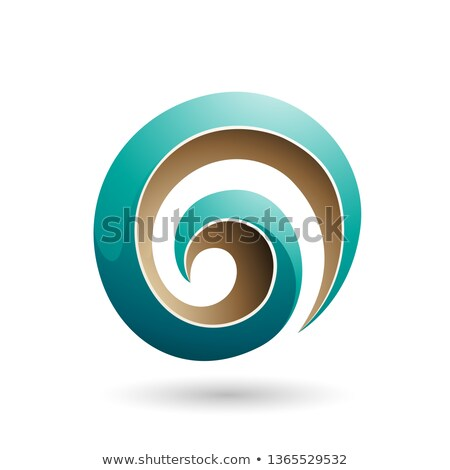 Green and Beige 3d Glossy Swirl Shape Vector Illustration Stock photo © cidepix