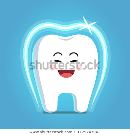 Glad strong shielded cheerful cartoon tooth character. vector il Stock photo © doomko