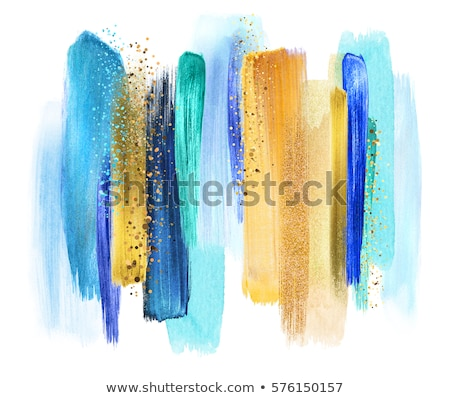 coloured watercolor background blue and gold brush strokes stock photo © natalia_1947