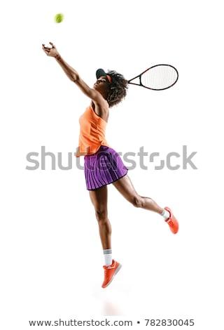 афроамериканец теннис девушки Теннисная ракетка улыбка Sexy Сток-фото © diomedes66