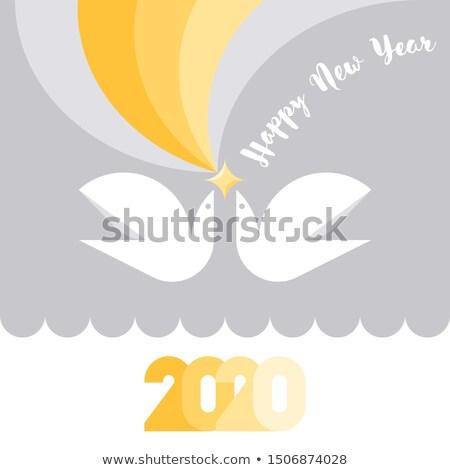 Glückliches neues Jahr Grußkarte gelb Sterne zwei Vögel Stock foto © ussr