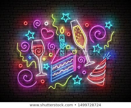 Brillo tarjeta de felicitación pieza torta vela feliz cumpleaños Foto stock © lissantee