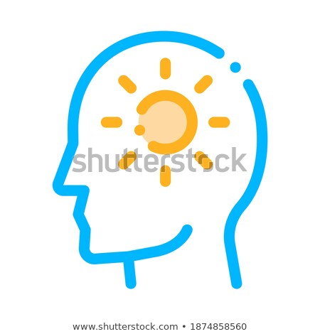 Shining Sun In Man Silhouette Mind Vector Icon Stock photo © pikepicture