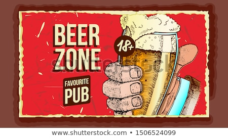 Hand Holding Beer Glass Advertising Banner Vector Stock photo © pikepicture