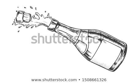 Zdjęcia stock: Szampana · butelki · alkoholu · monochromatyczny · wektora
