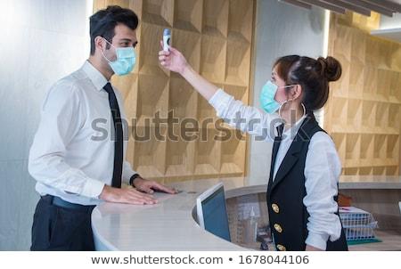 Empresário termômetro febre jovem cansado saúde Foto stock © ra2studio