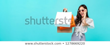 Sale Banner Sunglasses And Blue Background Stok fotoğraf © articular