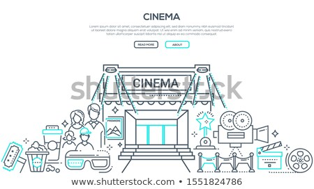 visiting cinema linear vector landing page template stock photo © decorwithme