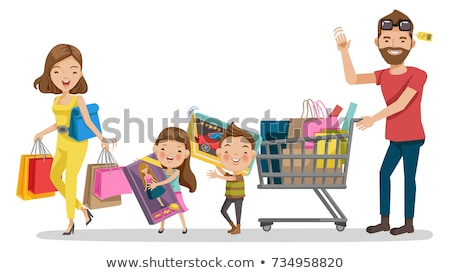 family shopping day people with purchases vector stock photo © robuart