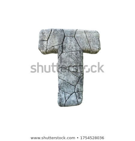Concrete fracture font Letter T 3D Stock photo © djmilic