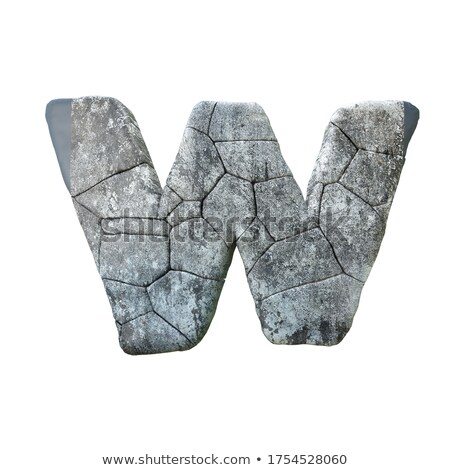 Concrete fracture font Letter W 3D Stock photo © djmilic