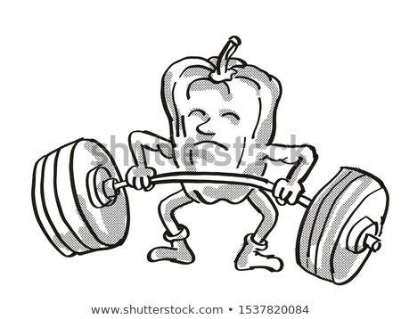 Bell Pepper or Capsicum Healthy Vegetable Lifting Barbell Cartoon Retro Drawing Stock photo © patrimonio
