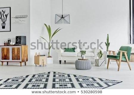 современных · интерьер · диван · лампы · таблице · часы - Сток-фото © robuart