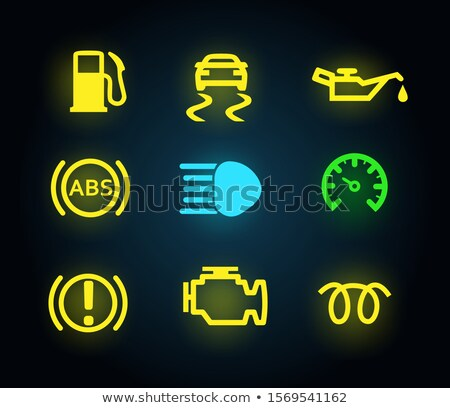 Set of yellow and green light car dashboard panel indicators, icons isolated, petrol, oil, engine, a Stock photo © MarySan