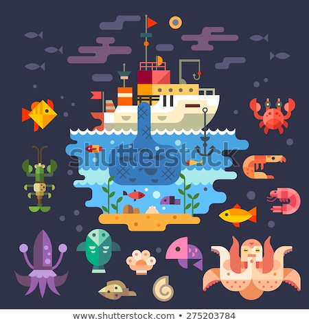 Cute animals in boat in sea waters flat vector illustration Stock photo © Decorwithme