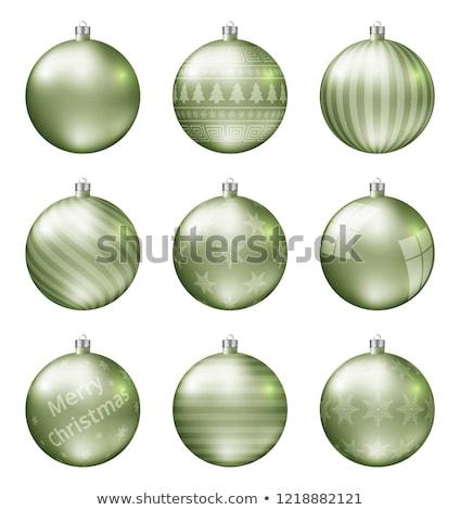 Light green christmas balls isolated on white background. Photorealistic high quality vector set of  Stock photo © ukasz_hampel