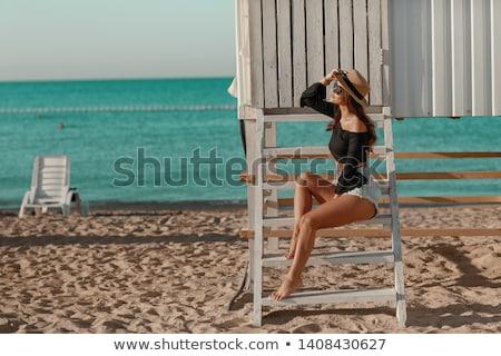 été vacances vacances fille denim short Photo stock © ElenaBatkova