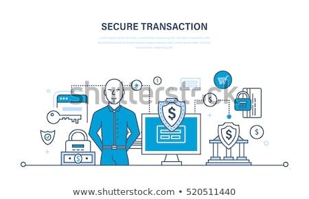 Eletrônico seguro depósito vetor fino linha Foto stock © pikepicture