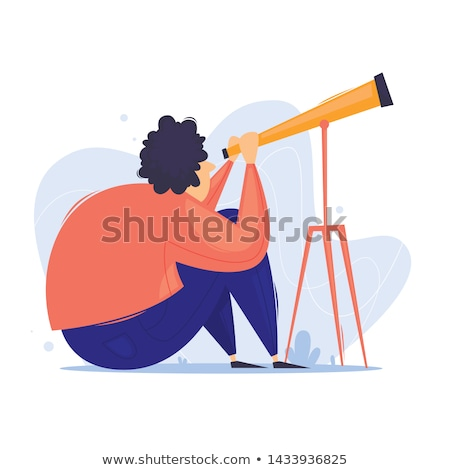 Man Looking Through Lens, Astronomy Hobby Vector Stock photo © robuart