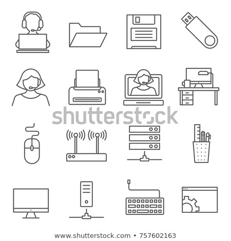 Broken Computer Icon Vector Outline Illustration Stock photo © pikepicture