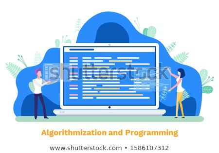 Programozás vektor monitor számítógép férfi nő Stock fotó © robuart