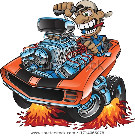 Clásico americano muscle car conductor Cartoon Foto stock © jeff_hobrath