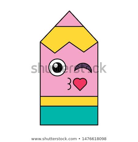 Coquetear lápiz emoticon ilustración romántica Foto stock © barsrsind
