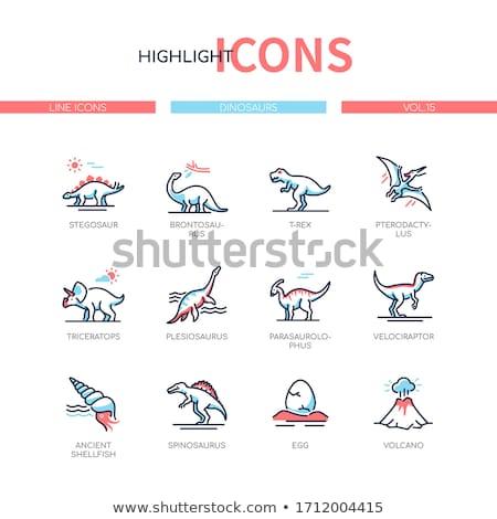 Différent dinosaures ligne design style Photo stock © Decorwithme