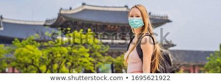 Woman tourist in Seoul, South Korea. Travel to Korea concept BANNER, LONG FORMAT Stock photo © galitskaya