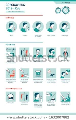 Coronavírus prevenção vírus linha vetor Foto stock © smoki