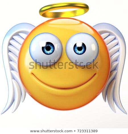Lachend gezicht halo emoticon engel glimlach gezicht Stockfoto © yayayoyo