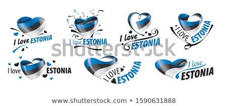 Zászló Észtország felirat szeretet szív háttér Stock fotó © butenkow