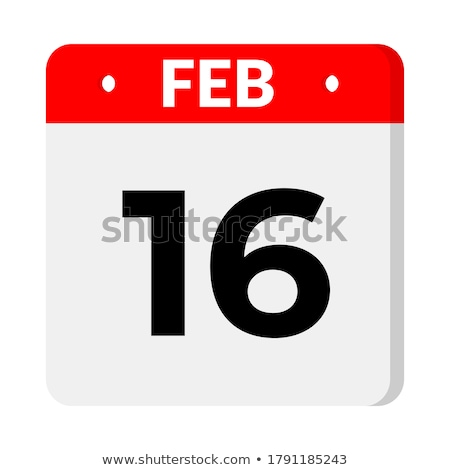 Simple black calendar icon with 16 february date isolated on white Stock photo © evgeny89