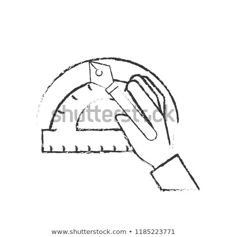 hand with fountain pen protractor graphic design Stock photo © yupiramos