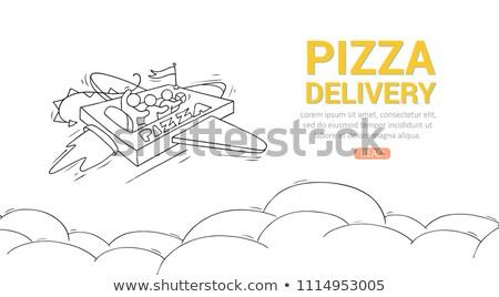 Fastfood hand drawn vector doodles illustration. Fast food poste Stock photo © balabolka