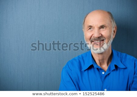 Positive thinking elderly grey-haired bearded man Stock photo © deandrobot