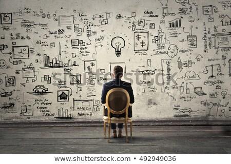 Strategy plan on a blackboard Stock photo © ivelin