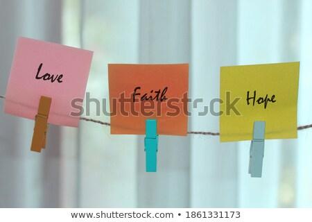 Glauben farbenreich Worte Seil Holz Stock foto © Ansonstock