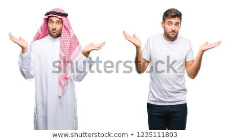 arab · férfi · kisebbségi · kezek · ki · fehér - stock fotó © lovleah