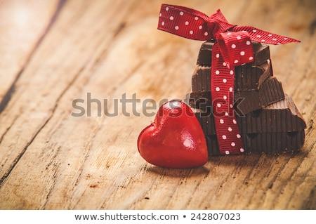Valentine prato decorado vermelho fofo coração Foto stock © borna_mir