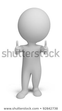 3d small people   double thumbs up stock photo © anatolym